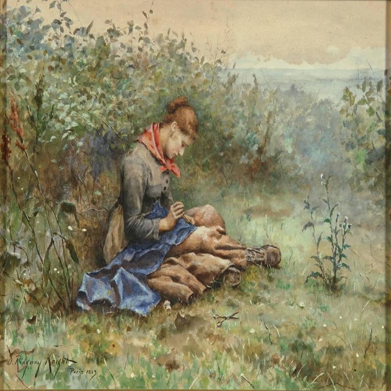 Daniel Ridgway Knight Landscape Painting - Femme cousant