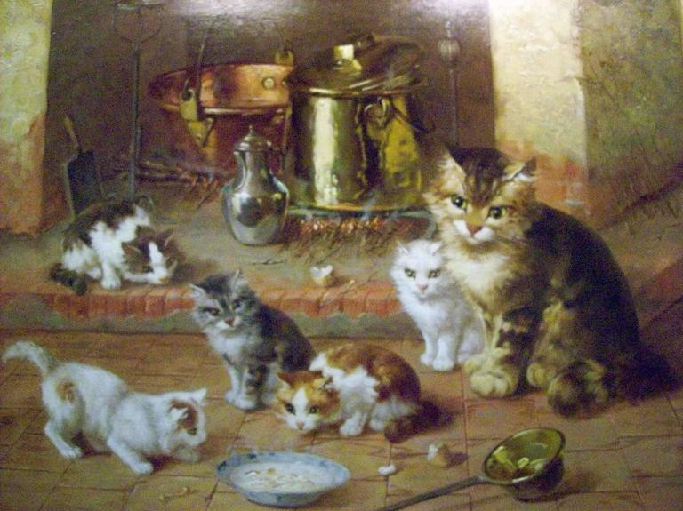 Victor Demongin Interior Painting - Cat Family at Evening Meal
