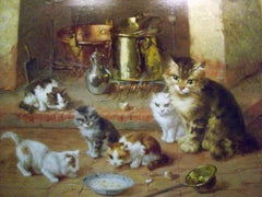 Cat Family at Evening Meal
