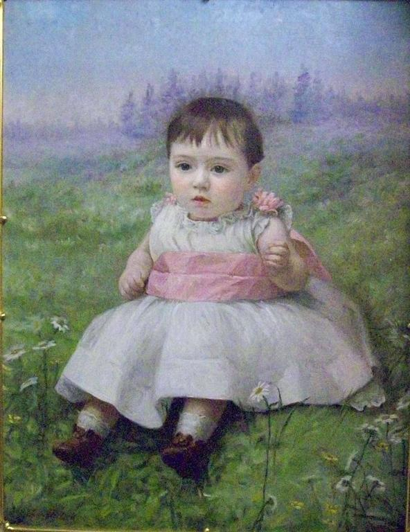 Lila Pollock Portrait Painting - Fillette dans un paysage champetre
