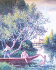 Baignade en Barque a' Rolleboise cira 1920