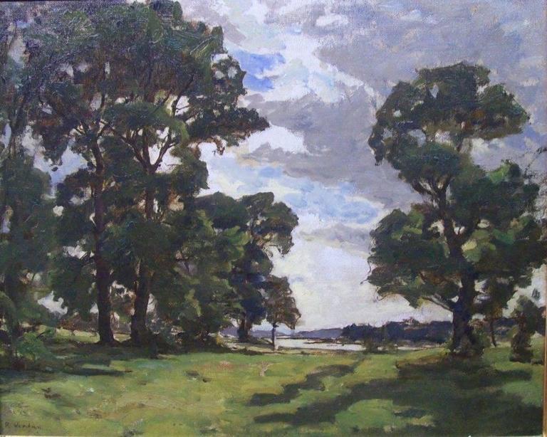 Raymond Jean Verdun Landscape Painting - Paysage de riviere