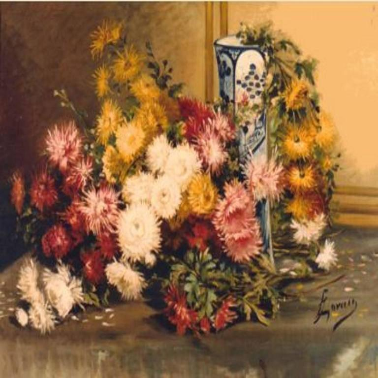 Unknown Still-Life Painting - Multi Coloured Chrysanthemums in a blue and white vase
