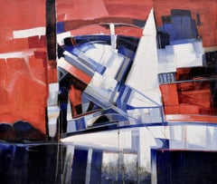 RACE IN THE GULF - Italian abstract oil on canvas painting, Stefano Iannone
