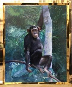 CHIMPANZEE - Italian animal oil on canvas painting, Angelo Granati