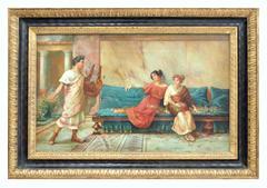 POMPEIAN SCENE - Italian figurative oil on canvas painting, Angelo Granati