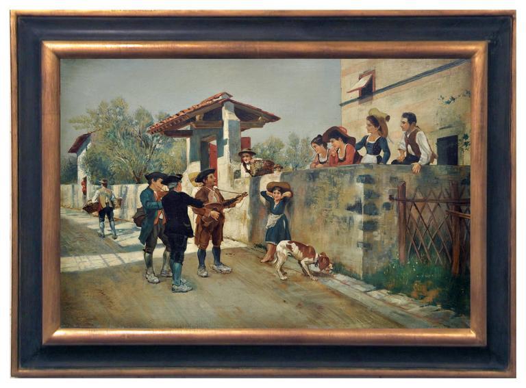 SERENADE - Italian figurative oil on canvas painting, Angelo Granati - Painting by Angelo Granati