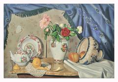 STILL LIFE OF FLOWERS, FRUIT AND PORCELAIN - Italian oil on canvas painting