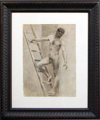 DRAWING OF A NACKED MAN ON LADDER