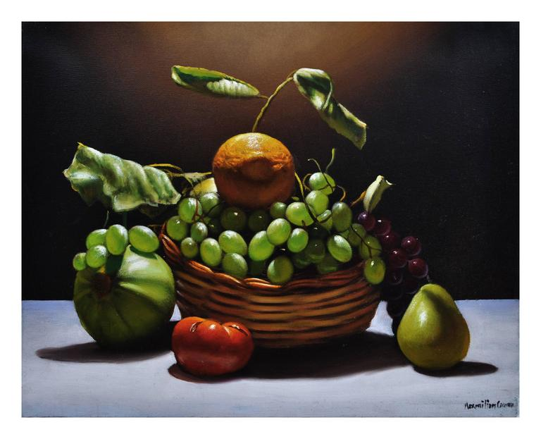 BASKET WITH FRUIT - Italian still life oil on canvas painting Maximiilan Ciccone