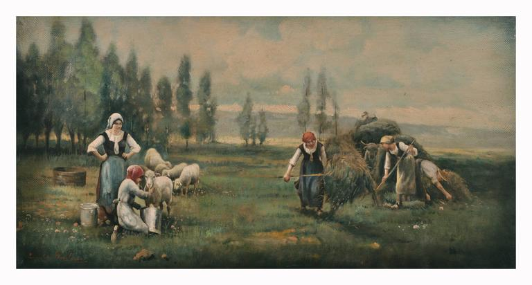 COUNTRY LANDSCAPE - Italian oil on canvas painting, Emilio Pergola - Painting by Emilio Pergola
