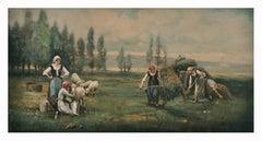 COUNTRY LANDSCAPE - Italian oil on canvas painting, Emilio Pergola