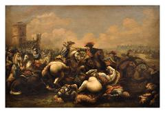 CAVALRY BATTLE - Italian figurative oil on canvas painting, Salvatore Alfano