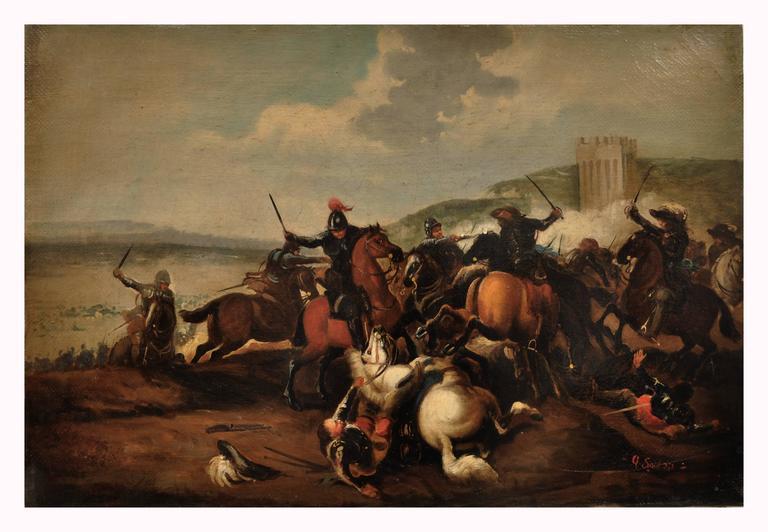 CAVALRY BATTLE - Italian figurative oil on canvas painting, Antonio Savisio