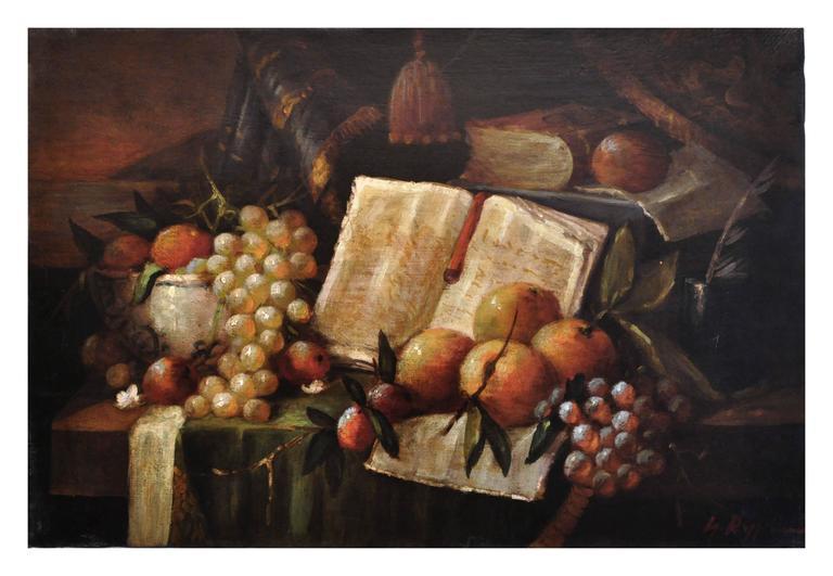 STILL LIFE - Italian oil on canvas painting. Massimo Reggiani