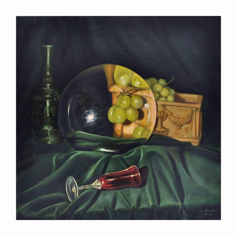 Maximilian Ciccone Still-Life Painting - THE LENS AND THE GRAPES - Italian still life oil on canvas painting, M. Ciccone