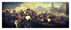 CAVALRY BATTLE - Italian figurative oil on canvas painting, Antonio Savisio