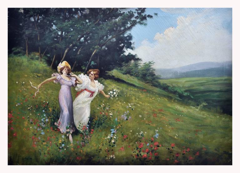 Jean Louis Richard Figurative Painting - IN THE GARDEN