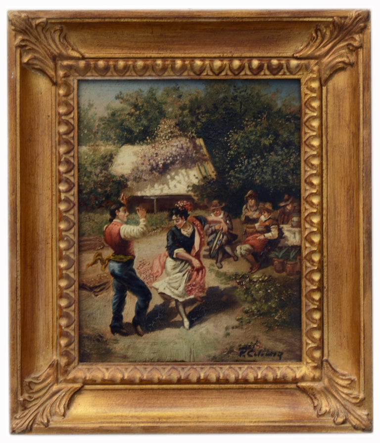 COUNTRY SCENE - Italian oil on canvas painting, Pietro Colonna - Painting by Pietro Colonna