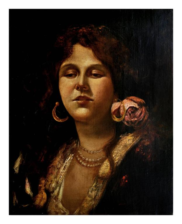 Ciro De Lucia Portrait Painting - PORTRAIT OF YOUNG WOMAN