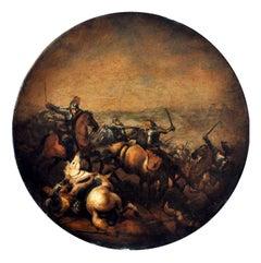 CAVALRY BATTLE - Italian figurative oil on canvas round paintingh, A. Savisio