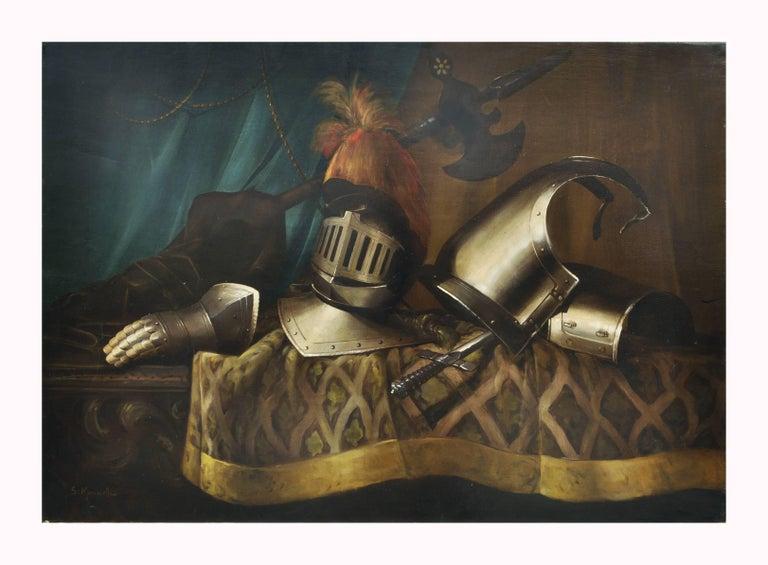 STILL LIFE WITH ARMATURE - Italian oil on canvas painting, Salvatore Marinelli