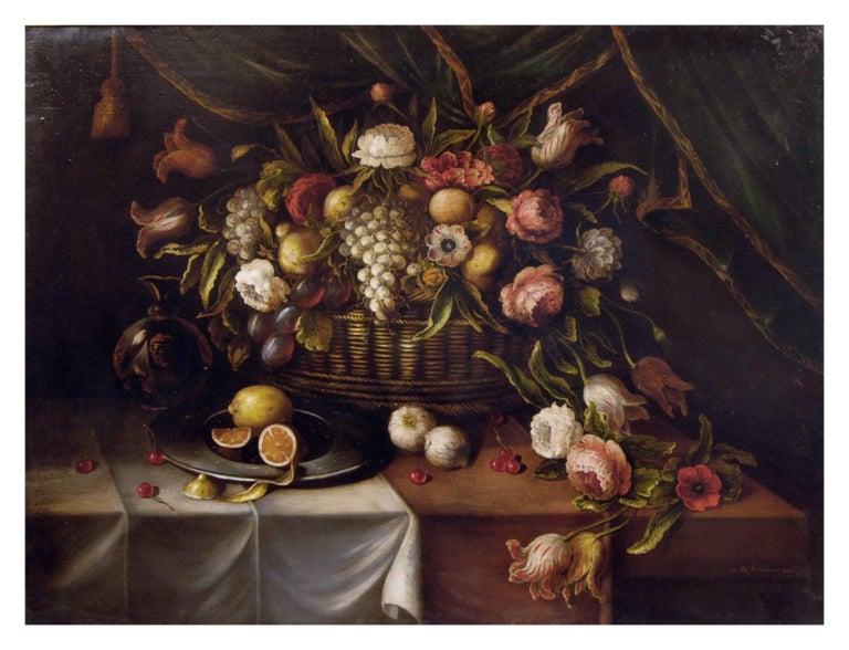 STILL LIFE - Italian oil on canvas painting, Carlo De Tommasi