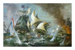 SEA BATTLE - Italian sailing boat oil on canvas painting, John Stevens
