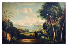 ITALIAN LANDSCAPE . Italian oil on canvas painting, Luigi De Santis