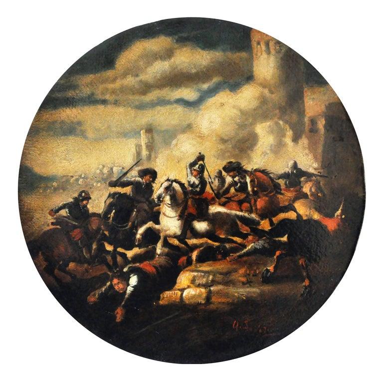 Antonio Savisio Figurative Painting - CAVALRY BATTLE - Italian figurative oil on canvas round painting, A. Savisio