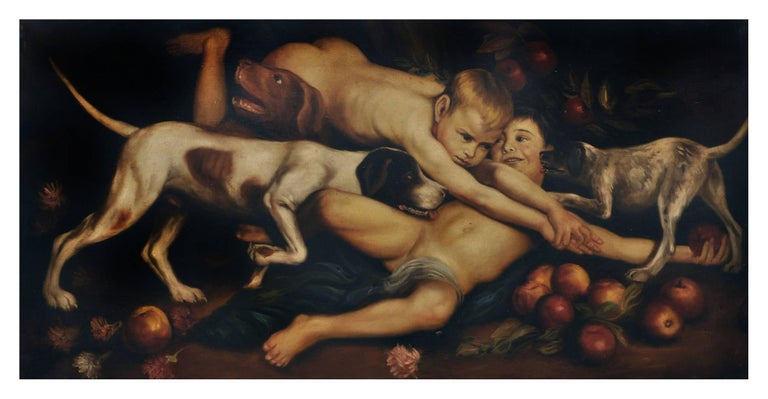 Giulio Di Sotto Figurative Painting - CHERUBIM PLAYING