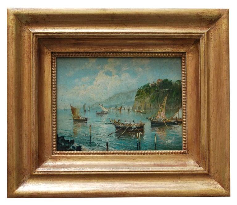 MARINE - Italian landscape oil on board painting, Luigi Basile