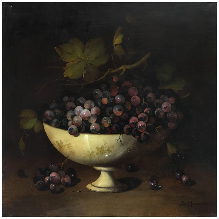 THE BLACK GRAPE - Italian still life oil on canvas painting, Salvatore Marinelli - Painting by Salvatore Marinelli