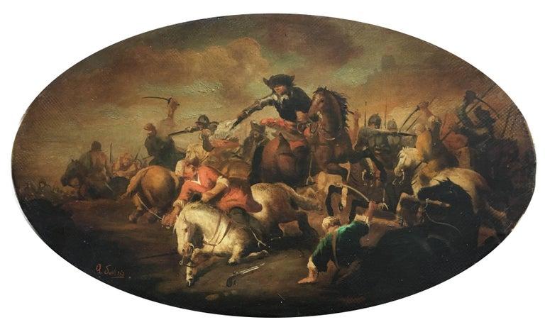 CAVALRY BATTLE - Italian figurative oil on canvas oval painting, A. Savisio