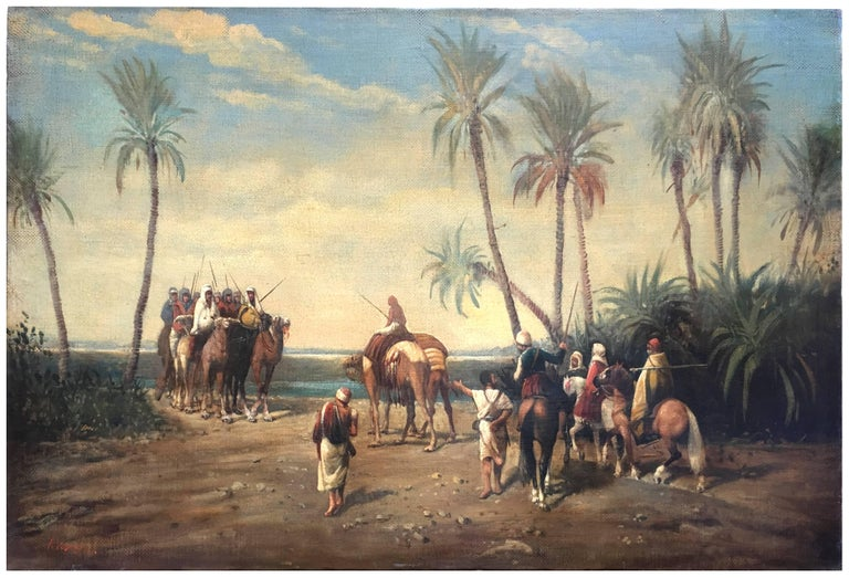 ARABIAN LANDSCAPE - Italian oil on canvas painting, Francoise Vigneron