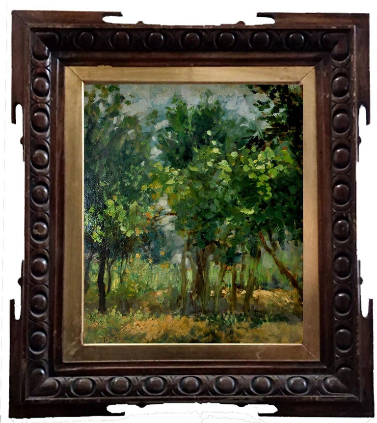 IN THE WOOD - Italian landscape oil on board painting, Raffaele Tafuri