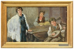 INSIDE SCENE - Italian figurative oil on carboard painti, Carlo Passarelli 1900s