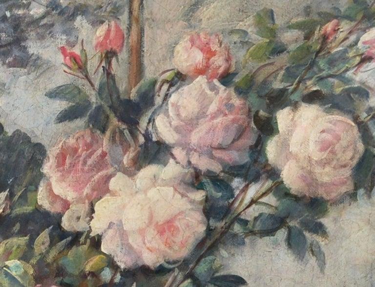 FLOWERS - Italian still life oil on canvas painting, Giovanni Bonetti - Gray Still-Life Painting by Giovanni Bonetti