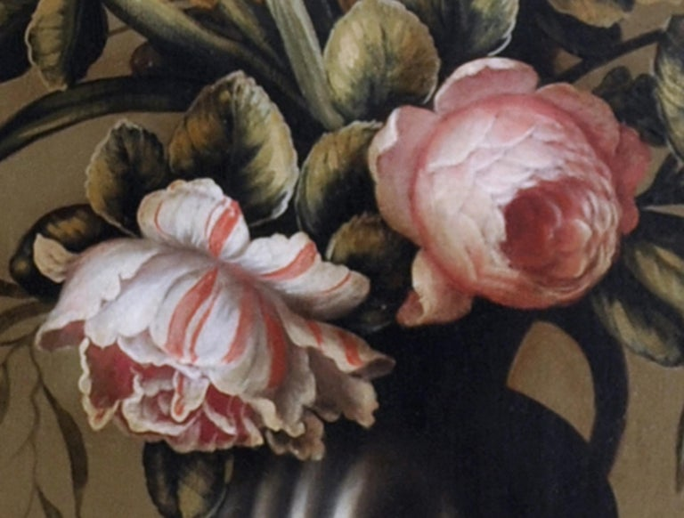 Flowers - Carlo De Tommasi Italia 2011 - Oil on canvas cm. 80x50 Frame available on request from our workshop. In this precious oil painting, Carlo De Tommasi is inspired by the Dutch compositions of Dutchman Jan Van Os.   The mastery of De Tommasi