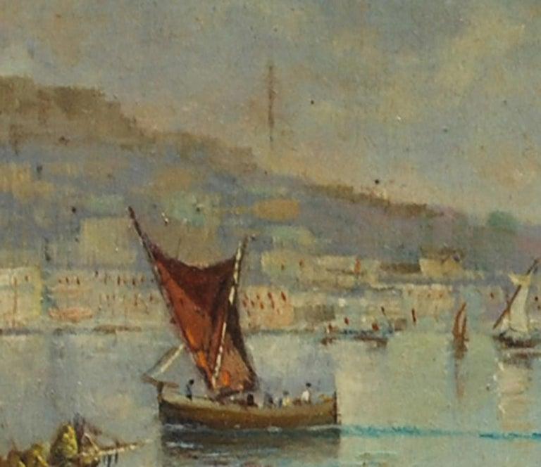 MARINE - Italian landscape oil on board painting, Luigi Basile For Sale 1