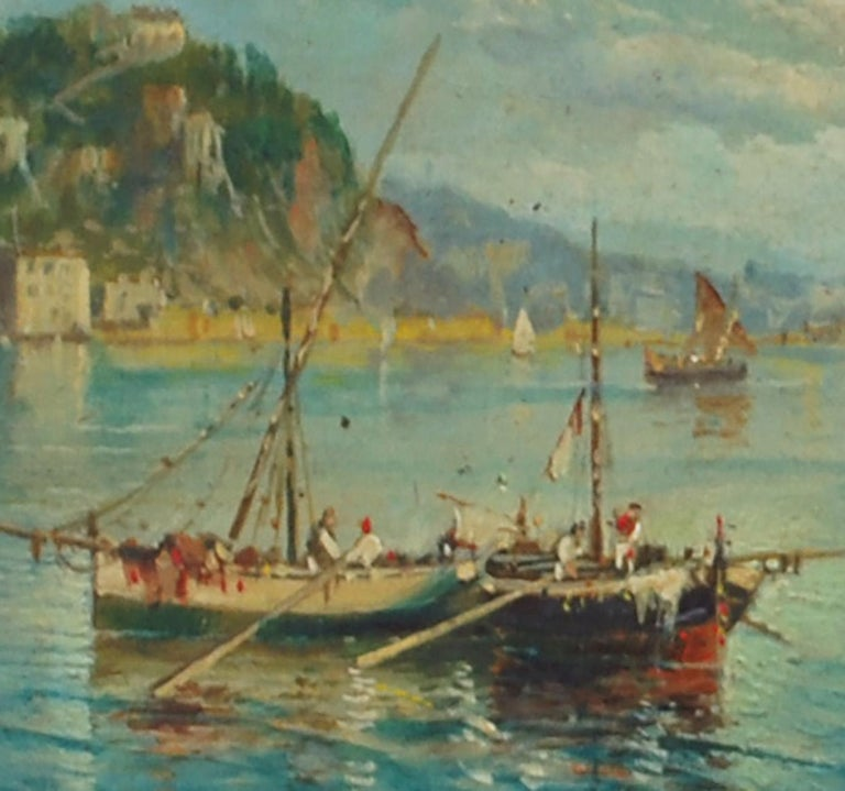 MARINE - Italian landscape oil on board painting, Luigi Basile - Brown Landscape Painting by Luigi Basile
