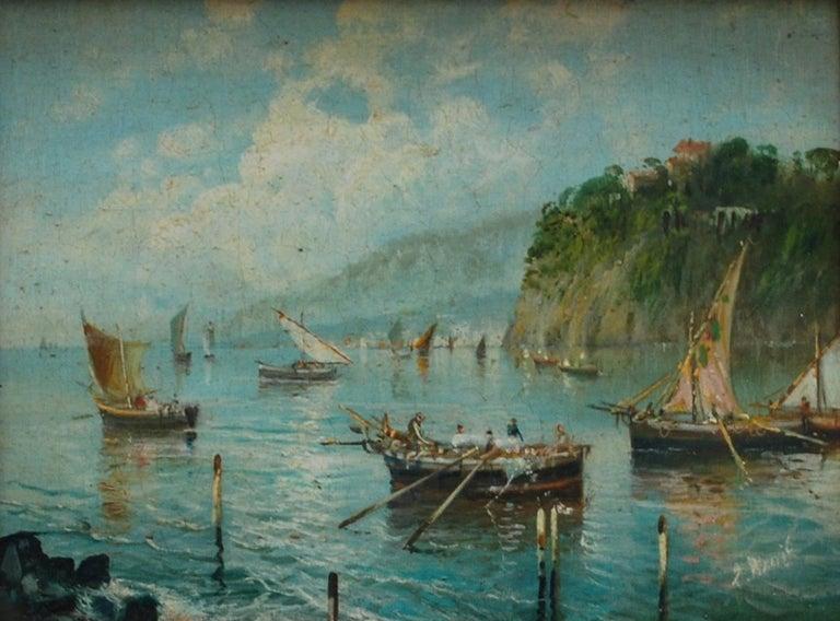 MARINE - Italian landscape oil on board painting, Luigi Basile - Old Masters Painting by Luigi Basile