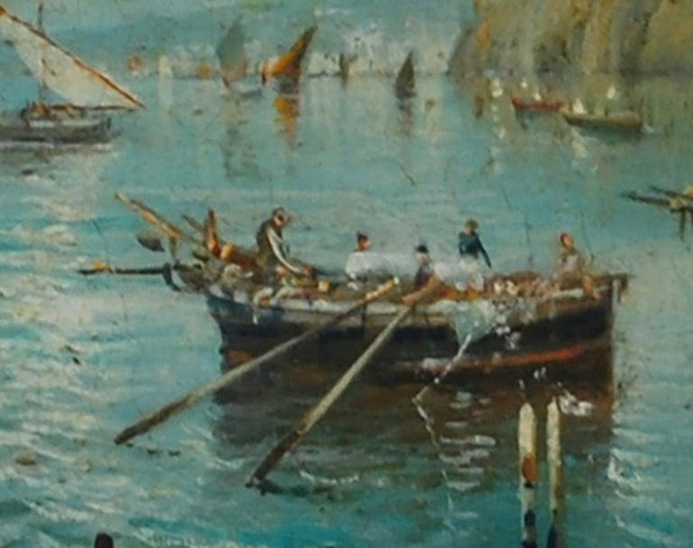 MARINE - Italian landscape oil on board painting, Luigi Basile - Brown Landscape Painting by Luigi Basile