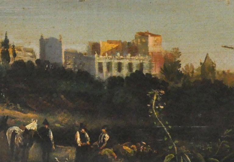 VIEW OF NAPLES - Italian landscape oil on canvas painting, Ettore Ferrante - Brown Landscape Painting by Ettore Ferrante