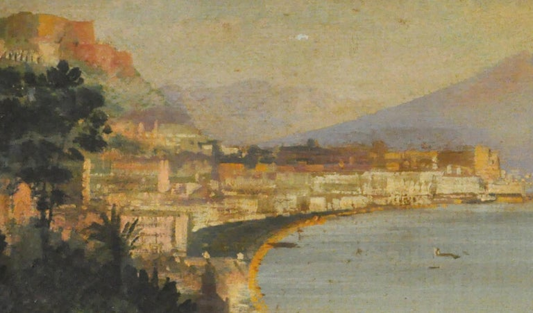 VIEW OF NAPLES - Italian landscape oil on canvas painting, Ettore Ferrante - Old Masters Painting by Ettore Ferrante
