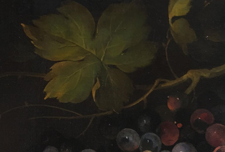 THE BLACK GRAPE - Italian still life oil on canvas painting, Salvatore Marinelli - Old Masters Painting by Salvatore Marinelli