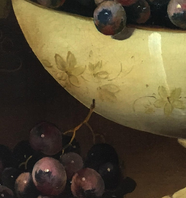 THE BLACK GRAPE - Italian still life oil on canvas painting, Salvatore Marinelli - Black Still-Life Painting by Salvatore Marinelli