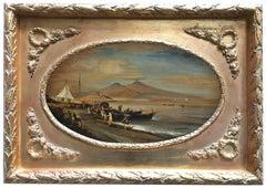 VIEW OF NAPLES - Italian landscape oil on canvas painting, Ettore Ferrante