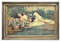 IN THE GARDEN - Italian figurative oil on canvas painting, Angelo Granati