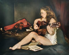 THE GUITAR - Italian figurative oil on canvas painting by Francesca Strino